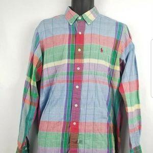 Vtg Ralph Lauren Plaid Button Front Long Sleeve
